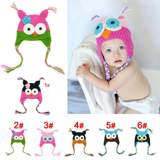 Free shipping 10pcs/lot Handmade Knitted Crochet cap owl infant hat with ear flap baby Hat