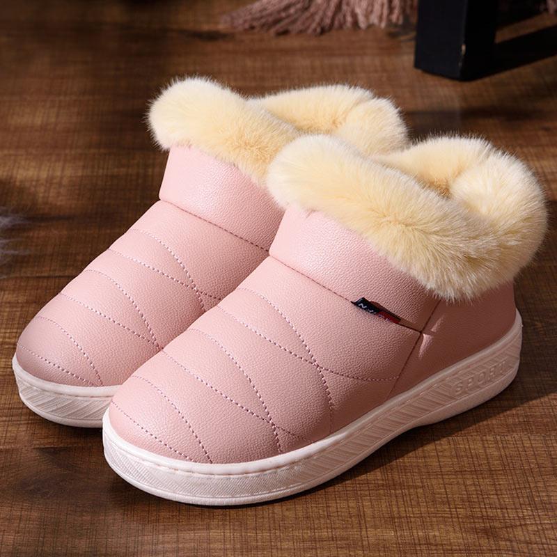 Winter Frauen Stiefel Fashion Ankle Schnee Stiefel Damen Plüsch Einlegesohle Paar Dicken Sohlen Schuhe Wasserdicht Flache Unten Stiefel Weibliche
