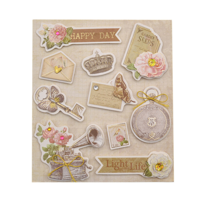 She Love Fashion Vintage Deocrative Sticker 3D Adhesive Stickers DIY Scrapbooking Paper Craft