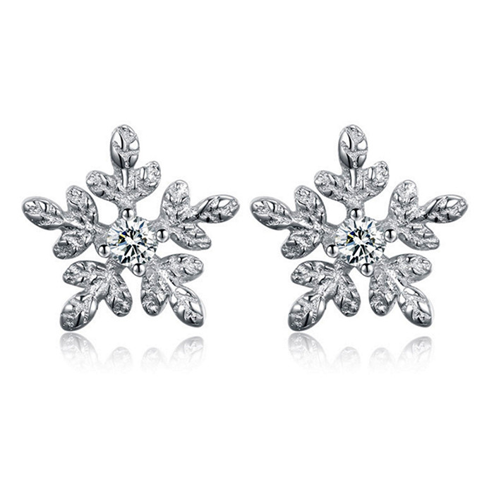 Winter Snowflake Exquisite Stud Earrings For Women Fit Brand Earring Fashion Wedding Engagement Luxury Jewelry