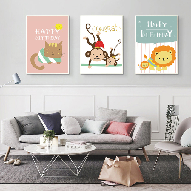 Monkey wall art for nursery thenurseries for Kids room canvas