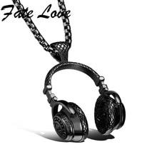 Classic Music Headset Auriculares Auriculares de Collares de Oro Negro de Plata Colgante Con Cadena de Acero Inoxidable 316L Para Los Hombres FL1100