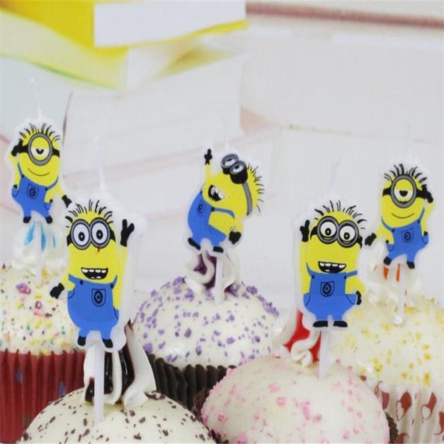 5 sztuk/paczka świeca projekt piękny Minion kreskówka słodkie dla chłopca i dziewczyny akcesoria na przyjęcie urodzinowe dla Baby shower