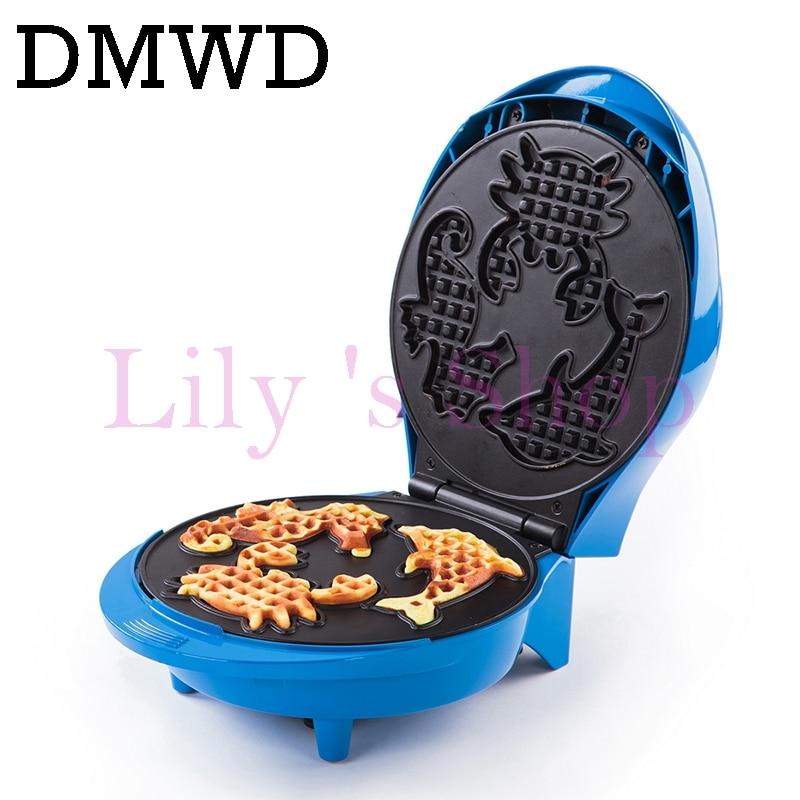 DMWD Electric waffle baking machine Crepe non-stick waffle maker kitchen DIY Muffin cake making machine breakfast animal pattern