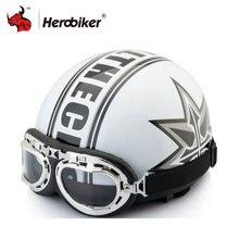 2017 Hot Sale Unisex New Vintage Verão Capacetes Da Motocicleta Abrir Rosto Meio & Moto Óculos de proteção do Capacete Capacete livre