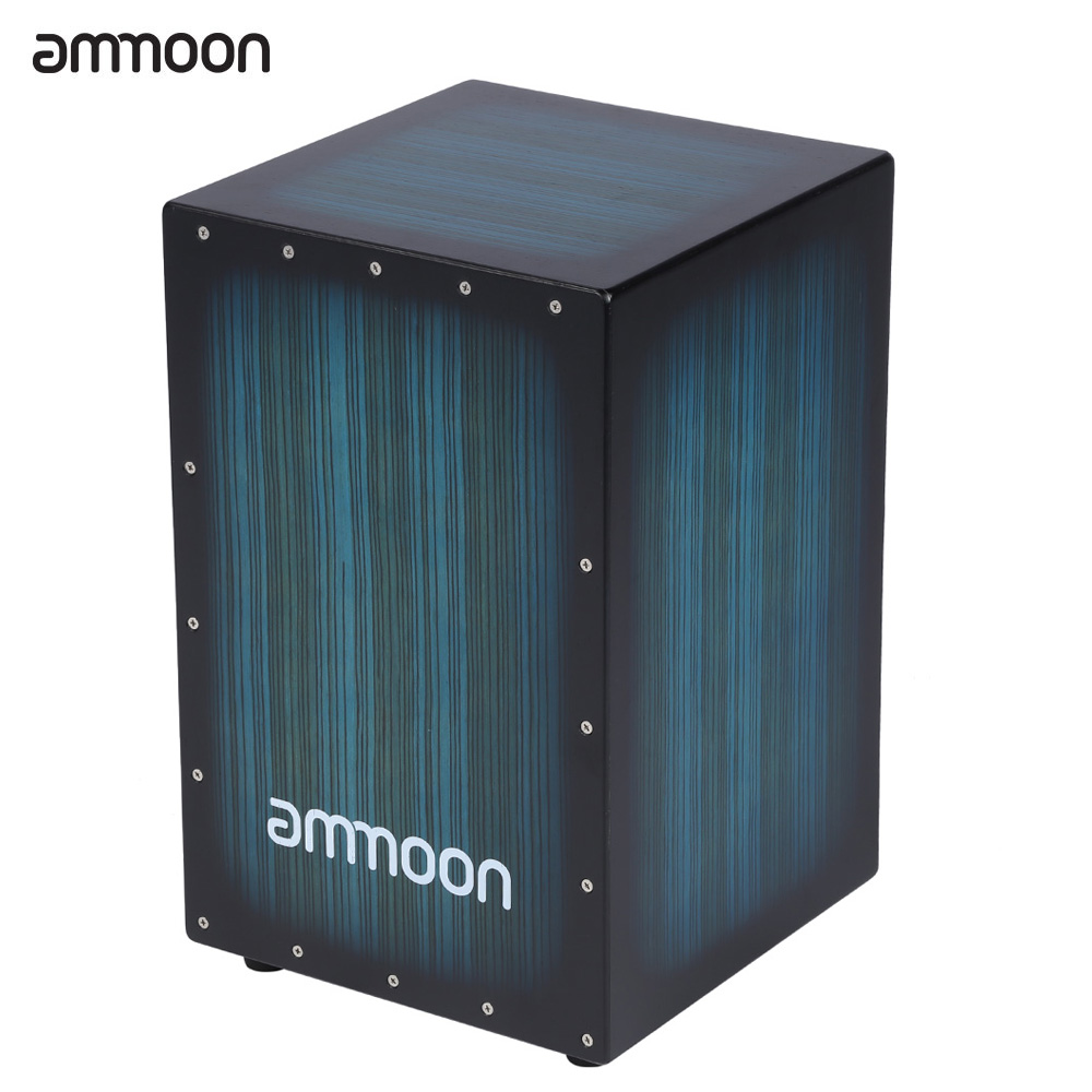 ammoon Wooden Box Drum Cajon Hand Drum Persussion Instrument Wood with Stings Rubber Feet 30 31
