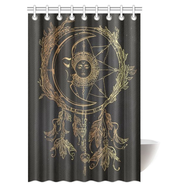 Aplysia Tribal Shower Curtain Ethnic Pattern Illustration With Sun And Moon Dream Catcher Hooks