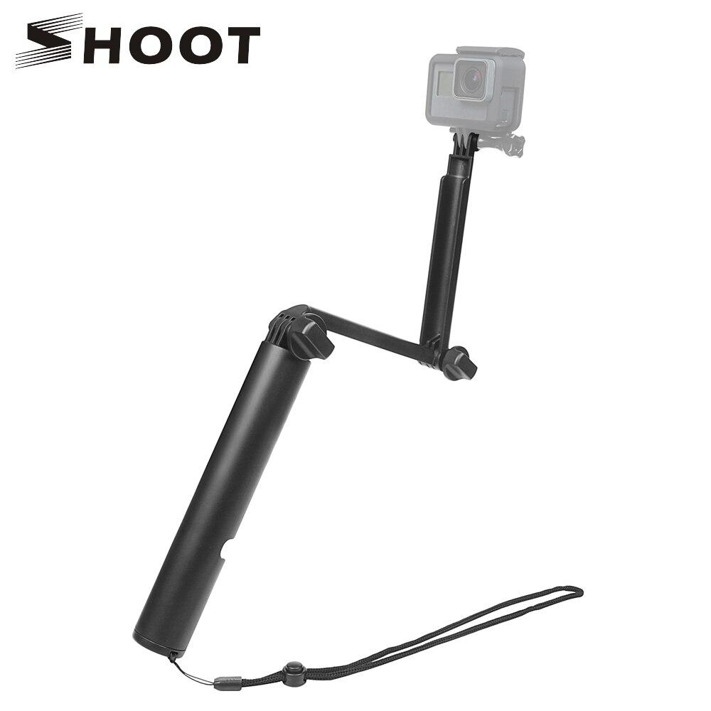 Disparar 3 vías Monopod Selfie Stick para GoPro Hero 6 5 7 negro Sjcam Sj4000 Eken H9 H9r Xiaomi yi 4 K Go Pro Hero 6 Accesorios