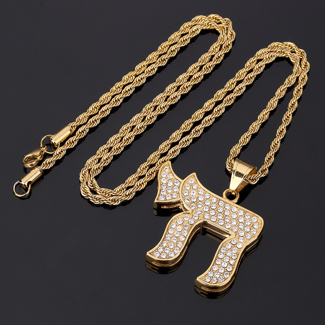 High Quality Chai The Jewish Symbol Letter Steel Chains Pendant