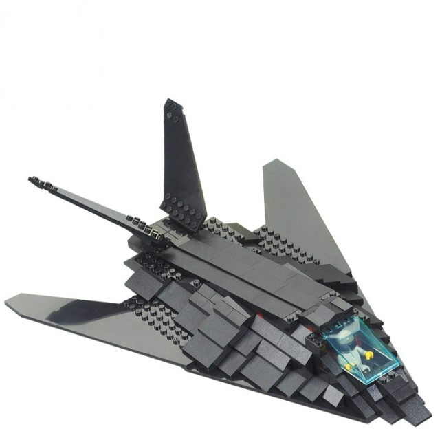 Sluban B0108 Military Black F117 Invisible Bomber Plane 3D Construction Plastic Model Building Block Bricks Compatible With Lego планшет digma plane 1601 3g ps1060mg black