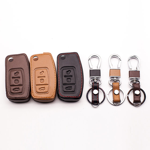 High quality car-covers 100% car leather key case genuine leather key chain ring cover for Ford Focus 2 MK2, 3 buttons  Key Shel