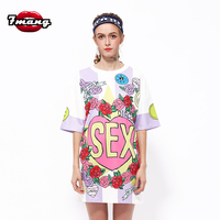 2017 New Women Street Loose Flower Letter Printing T Shirt Short Sleeve Straight Fashion Casual Summer