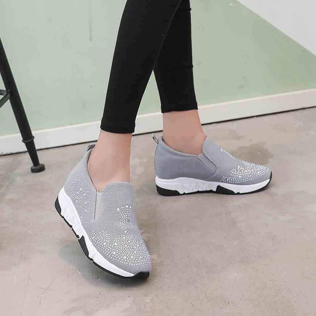 Women's Casual Shoes 2019 New Breathable Rise Women's Shoes Wedge Heel Casual Rhinestones Travel Shoes Sneakers