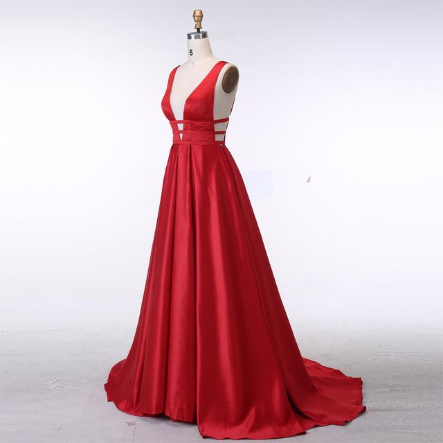 Sexy Red Evening Dresses Elegant Satin Evening Gowns Long Formal Evening Dress Abiye Prom Party Dresses vestido longo festa
