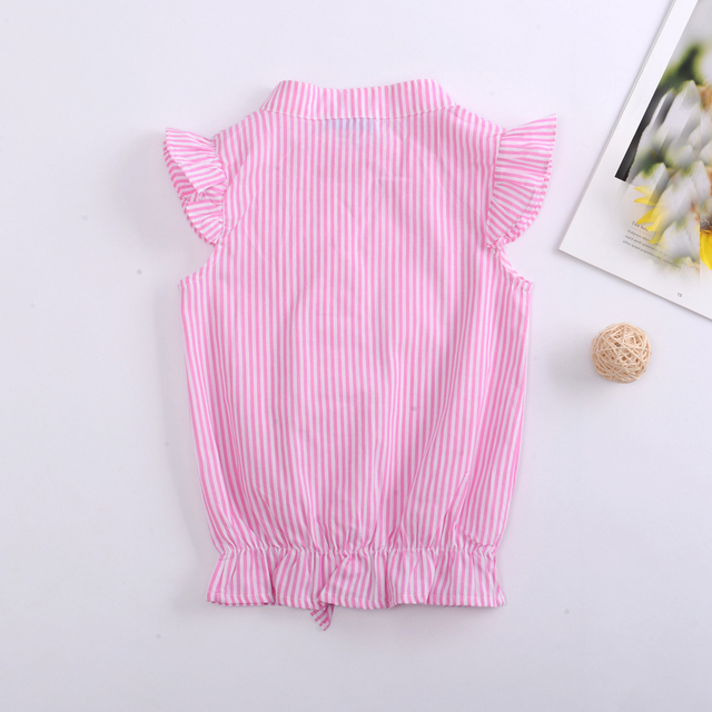 Girls' Pink Striped Spandex Blouse
