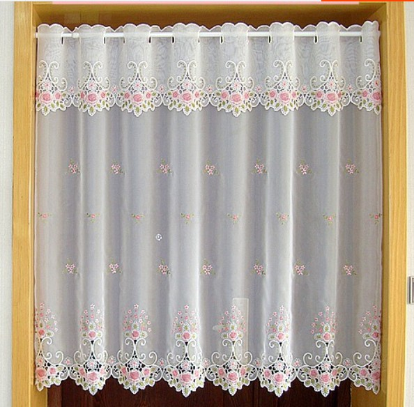 Embroidery Fabric Window Curtains White Pink Flower Rose