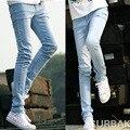 2016 Classic Blue sky Flaco Hombres Jóvenes Vaqueros de Los Hombres Delgados pantalones Pantalones Lápiz Pantalones de Las Medias Masculinas Jean Sexy Primavera Verano MB16084