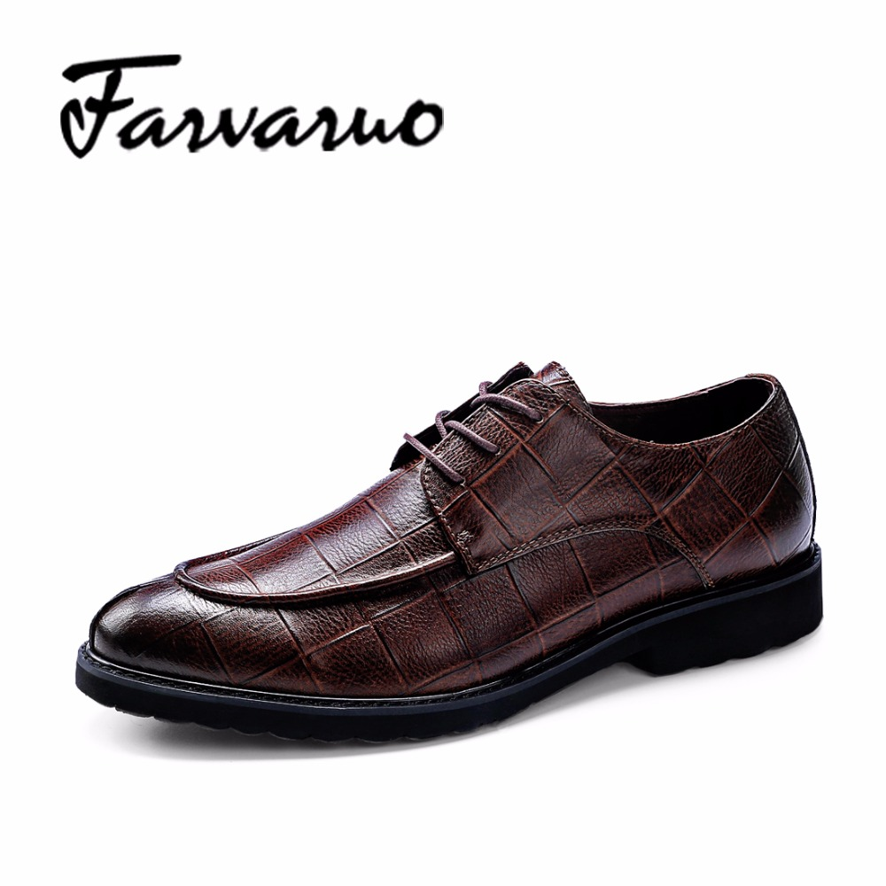 2017 Brand New Mens Genuine Leather Crocodile Oxford Business Formal Men Lace Up Lattice Dress Shoes Handmade Wedding Shoe Brown top quality crocodile grain black oxfords mens dress shoes genuine leather business shoes mens formal wedding shoes