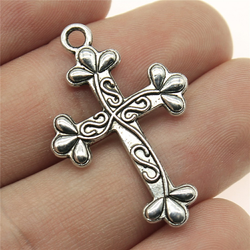 WYSIWYG 6pcs 35*23mm cross Pendants Charms Findings Jewellery Making Findings for DIY Craft