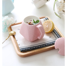Neue Mode diamant Form Keramik Wasser Becher Mit Abdeckungsqualität Trinken Kaffeetasse mit Löffel Milch Tasse Mix Farbe