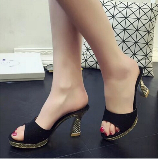 Platform Sandals Designer Shoes Slip-On-Slippers Open-Toe High-Heels Women Bling