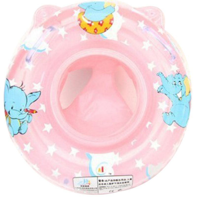 Environmentally Thickened Handle Swimming Lifebuoy Elephant Pattern Baby Swimming Seat Baby