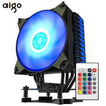 Aigo Es K4 CPU Cooler 4 Heatpipes PWM RGB 120 Mm Fan Radiator untuk AMD INTEL 2011/1151/ 1155/1156/775 CPU Cooling 120 Mm CPU Fan(China)