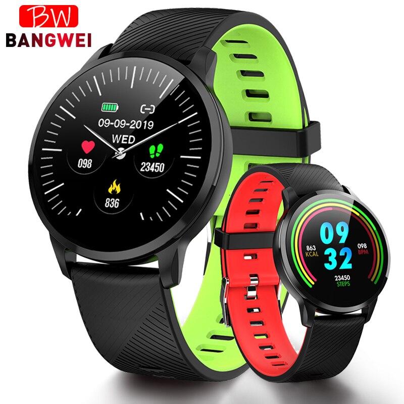BANGWEI 2019 Smart reloj inteligente reloj de pulsera presión arterial Monitor de ritmo cardíaco rastreador de Fitness podómetro impermeable reloj deportivo