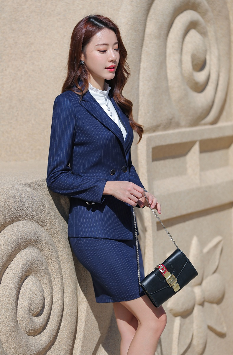 HTB11W2Eahz1gK0jSZSgq6yvwpXaL - Women Two Piece Outfits Elegant Stripe Full Sleeve Blazer+Skirt 2 Pieces Business Career Skirt Suits Office Clothes KY80869