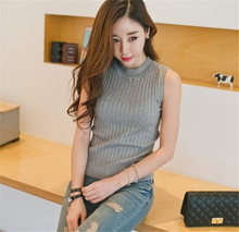 Women's O-neck sleeveless bottoming solid color slim Knit T-shirt Female Tops&Tees sweater Tops vest T-shirts casual TT565