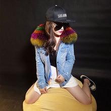 Korean Real Raccoon Fur Collar Women Winter Coat Jacket Denim Thick Short Jeans Outwear Real Fox Fur Lining Parka  Feminina New