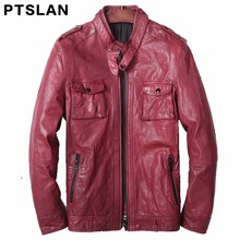 2017 man real lambskin moto jacket full pelt slim match coat actual leather-based coat biker zipper closure