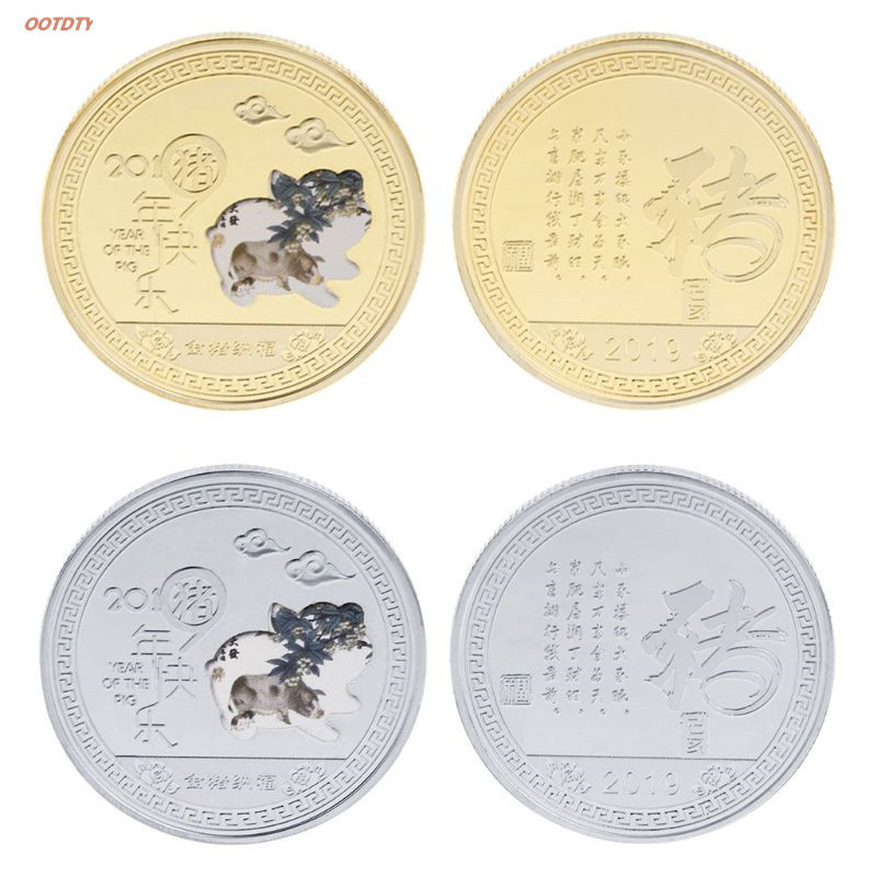 OOTDTY Commemorative Coin 2019 Pig Year Chinese Bless Wish Lucky Coins Collection Souvenir Fu New Year Zodiac Gifts