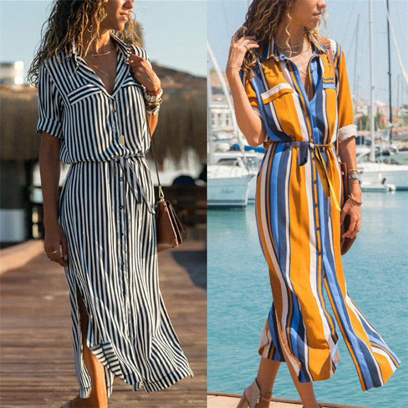 Casual Spring Autumn Women's Striped Shirts Dress Striped Half Sleeve Loose Mid-Calf Dresses High Waist Tie Belt Lady Dress