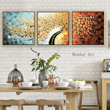 Best art Hand Painted Knife 3D Flower Picture Home Decor Wall Art Oil Painting Canvas Handmade golden Floral tree Paintin