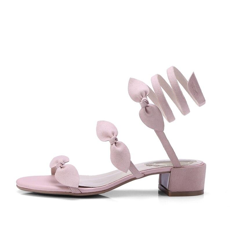 Noir Rose Apricot black Suede Enmayer Meilleure Femme D'été Talons Cr223 Carré Med Occasionnels Kid Mode Bowtie Sandales Solide Chaussures Nouvelle pink Qualité CodxeB