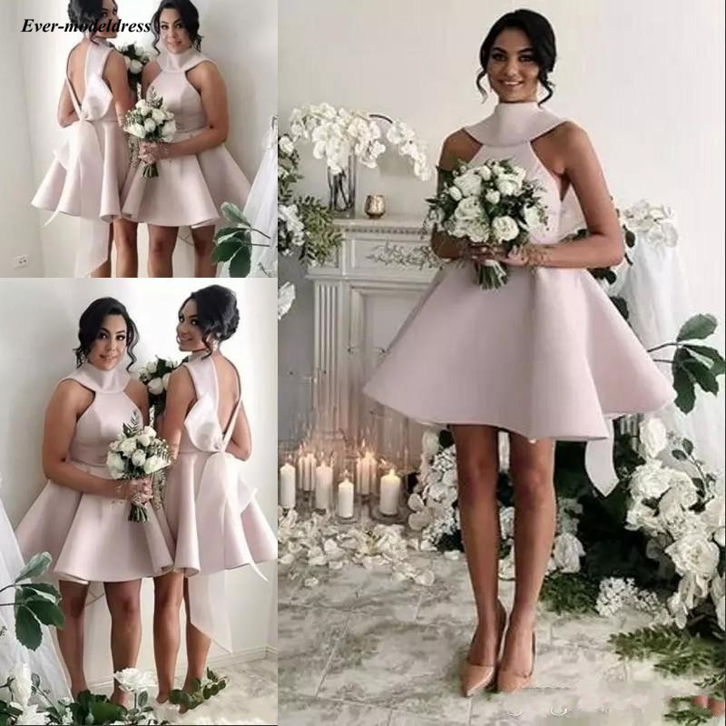 2019 Latest Short Pink   Bridesmaid     Dresses   High Neck Bow A Line Mini Satin Maid of Honor Party Gowns vestidos de fiesta de noche