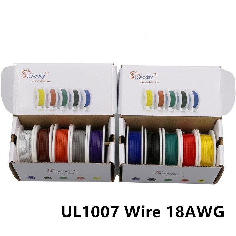 50 m/box 164ft UL 1007 18AWG 10 couleur de Mélange boîte paquet Fil Électrique Câble Ligne Aérienne De Cuivre PCB Fil LED câble DIY Connect