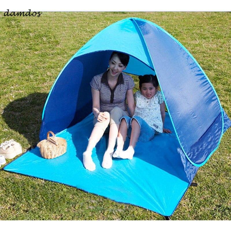 Tente de plage Automatique Pop Up Automatique Ouvert Tente Pop Up Instantanée Portable Famille Touristique Poissons Camping Anti-UV Entièrement Pare-Soleil