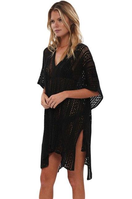 2ecaa99e38 2018 New Arrival Summer Women's Sexy Blue Black Mint White Crochet Knitted  Tassel Tie Kimono Beachwear Mini Dress LGY42183