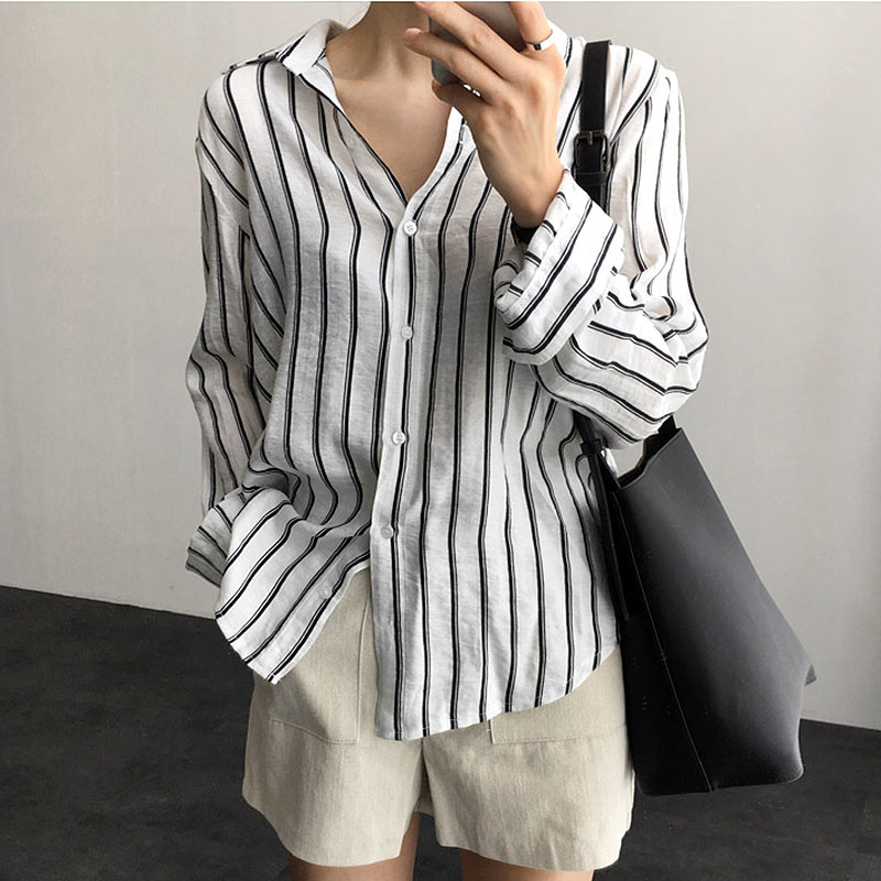 Chemisier Femme Blusas Mujer De Moda 2018 spring Tops Long Sleeve Women Blouses woman Shirts Button Striped ladies Blouse Female