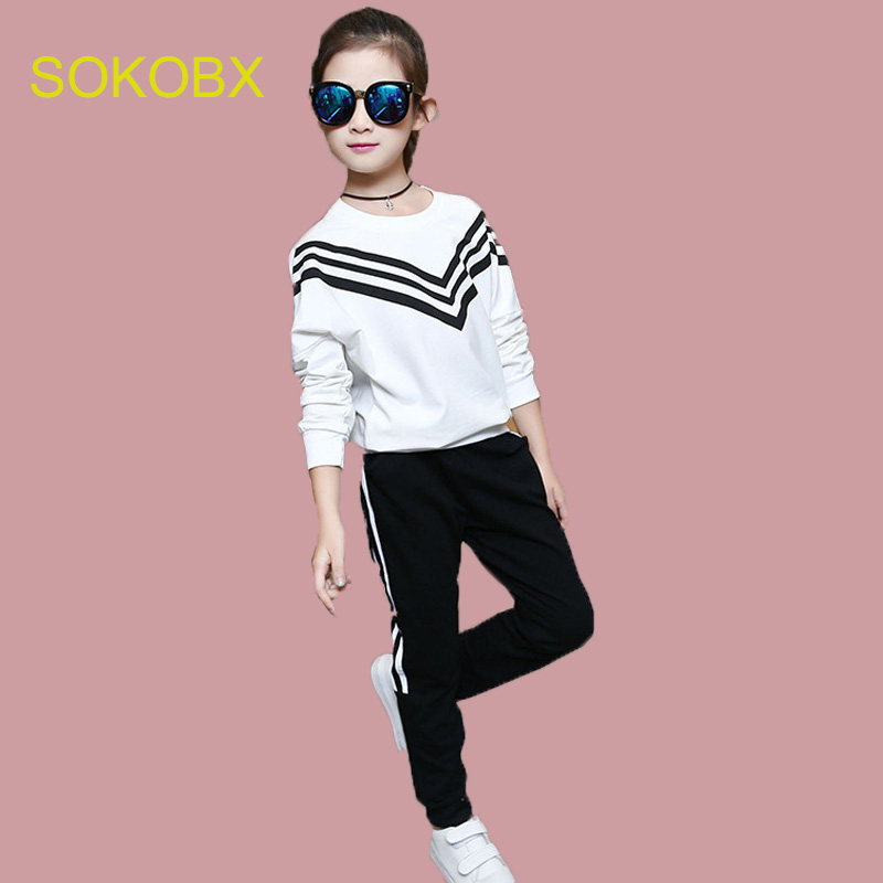 Fashion Kids Tracksuit For Girls School Uniform Suit Striped Children Girls Clothes Teenage Girl Clothing girls clothing sets girl fashion suit teenage girls clothes school children clothes striped shirt vest kids clothes tracksuit