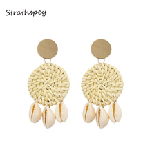 купить STRATHSPEY Natural Shell Rattan Earrings For Women Bohemia Conch shell Drop Earring Cowrie Shell Long Earing Beach Jewelry дешево