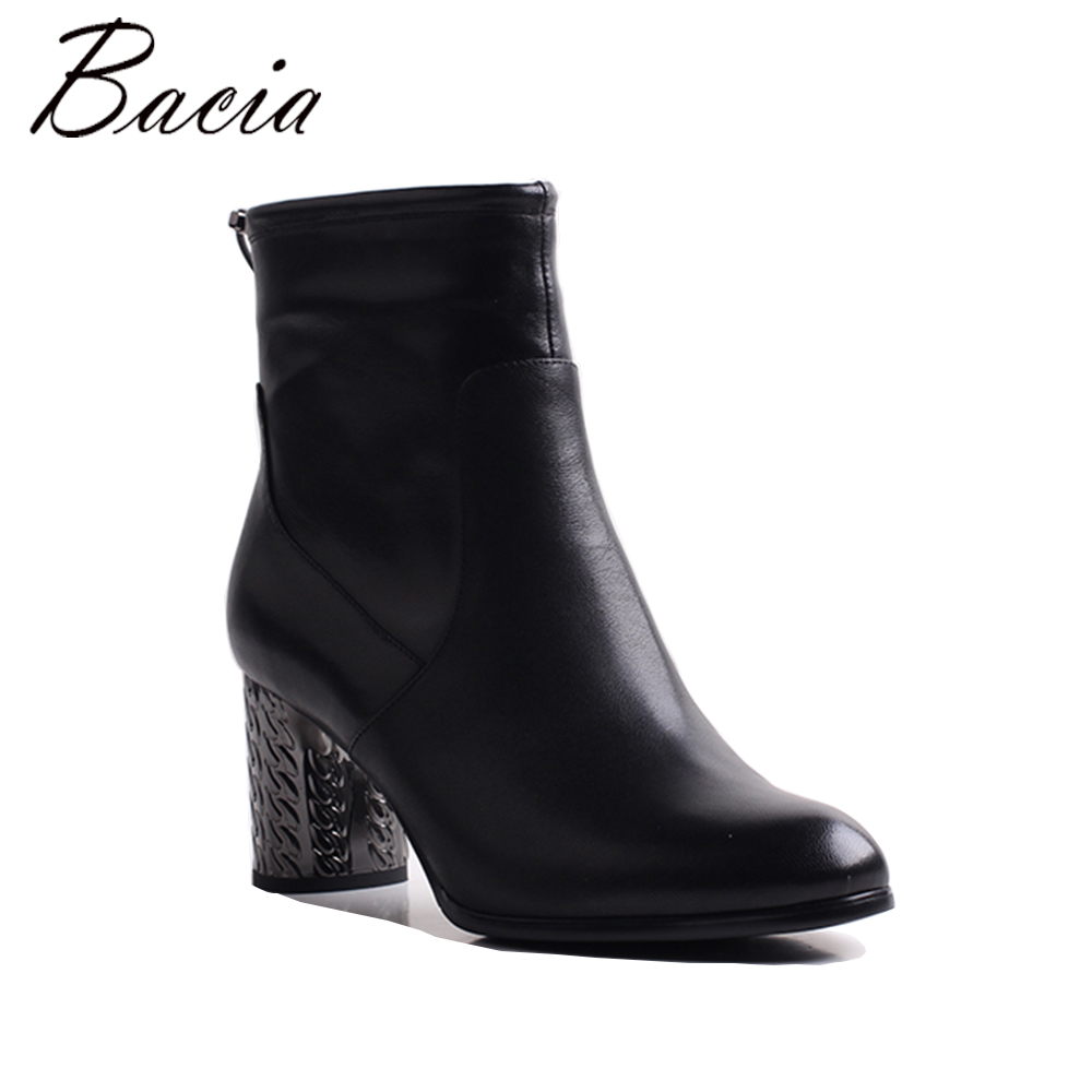 Bacia Woman Fashion Genuine Leather Motorcycle Ankle Boots Female Lace Up Low Heels Platform Comfortable Autumn Shoes MWB011 yaerni woman fashion genuine leather motorcycle ankle boots female lace up low heels platform comfortable spring autumn shoes