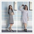 Verano señora Camisón niñas rayas de manga corta vestido de la falda de las mujeres ropa de moda de punto de algodón camisón envío gratis
