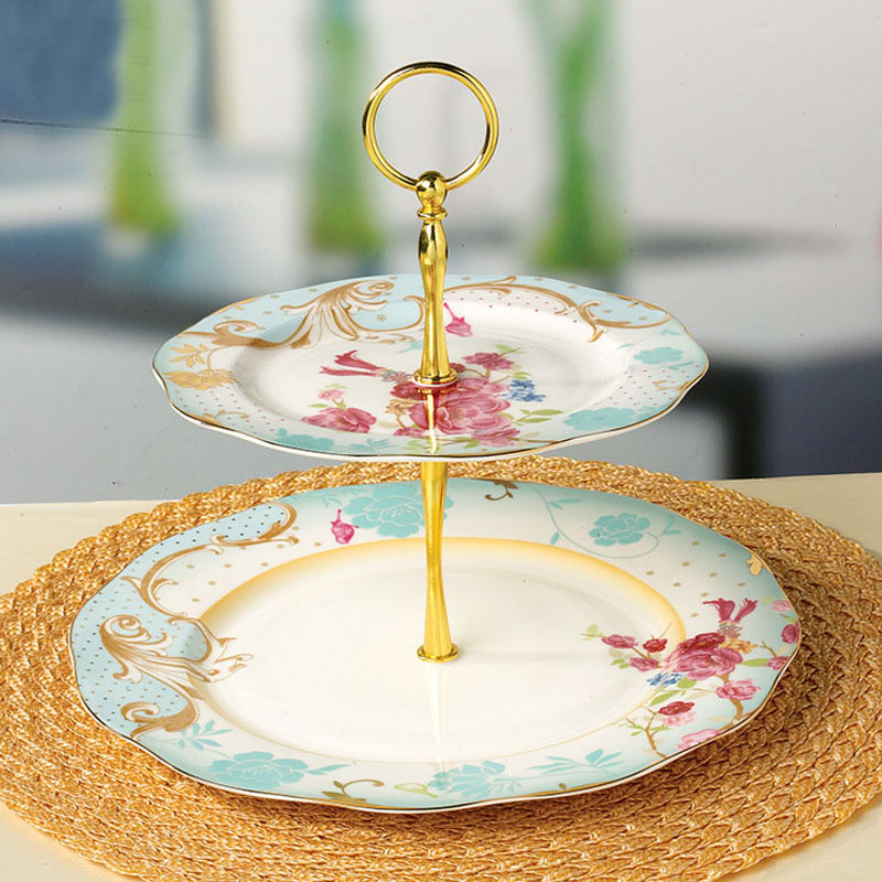 YeFine European Style Double deck Fruit Dish Wholesale Ceramic Cake Plates Snack Dry Fruit Trays Porcelain Snack Stand Holder-in Dishes u0026 Plates from Home ... & YeFine European Style Double deck Fruit Dish Wholesale Ceramic Cake ...