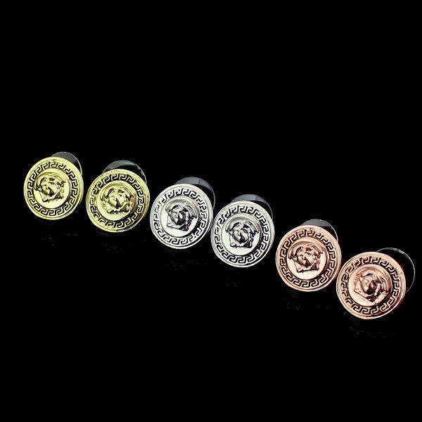 Designer De Jóias de moda Liga de Jóias Da Marca Pequena Cabeça Redonda Pregos Brinco Chapeamento 18 k Rosa Brincos de Ouro de Três Cores