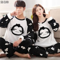 Free Shipping Autumn And Winter Lovers Thickening Flannel Pajamas Plus Size Sleepwear Male Cartoon Coral Fleece