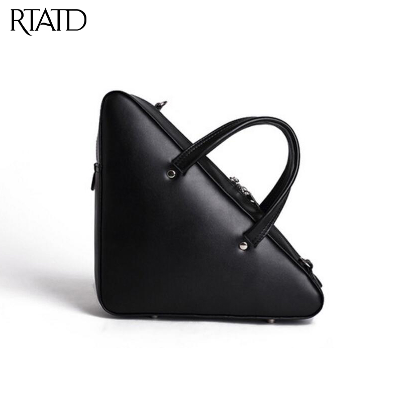 RTATD 2018 New Design Women Fashion Triangle Tote Hot sell Female Messenger Bag Split Leather Handbags Lady Crossbody Bags B025 2017 new split leather hulmer big tote it handbags fashion lady seek shoulder bags three sizes new arrival hot need m2067