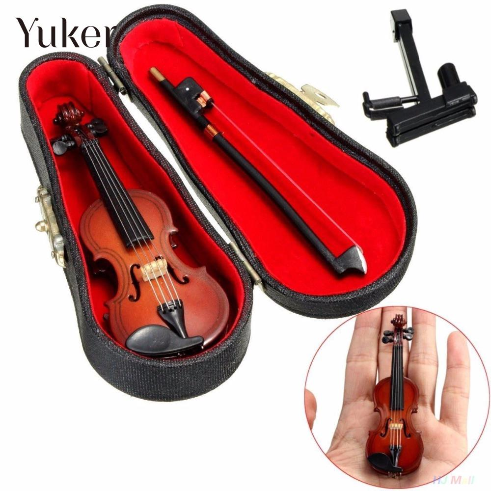 Yuker 1/12 Dollhouse Miniature Wooden Violin With Stand In B Music - Musical Instruments